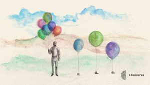 Figure, uplifted by balloons